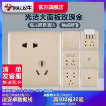 Commutateur Bull Wall 5 trou socket official store 86 large panel USB five-hole socket home Hidden G28 gold