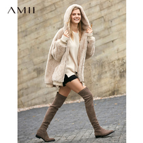Amii minimalist luxury extravagant large particles of pure wool sheep shearing coat female temperament Winter new hooded coat