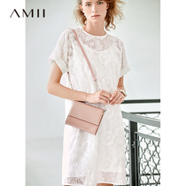 Amii minimalist French fresh temperament dress 2019 summer new heavy embroidery perspective beige fairy skirt