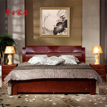 Huari home Chinese modern solid wood bed double bed bedside table 1 8 m solid wood storage bed bedroom set