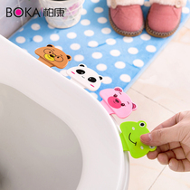 Creative cute cartoon toilet lid paste toilet toilet toilet seat handle flip cover anti-fouling hand