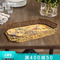 Creative retro living room fruit plate tea cup tray home American coffee table dried fruit plate new Chinese fruit plate tea tray
