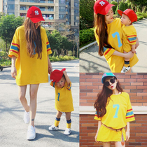 Baby parent-child loaded Spring Summer Summer 2019 new wave of a family of three family mother and daughter mother and Child Korean style T