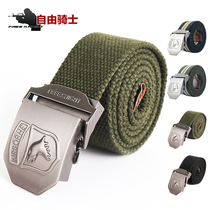 Free rider outdoor Airborne Division thickened tactical leisure canvas belt multifunction belt belt Tide men