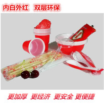 Disposable tableware tableware set thickened red and white two-color wedding banquet Barbecue Combination 8 10 people