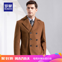 (Spike)Roman woolen coat male double breasted wool coat middle-aged large size suit woolen jacket male