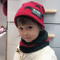 Korean version of the thick wool cap children plus cashmere baby winter warm hat scarf two-piece boy girl collar