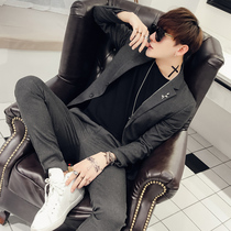 Spring handsome trend casual suit two-piece British style yuppie two button suit men slim Korean version