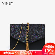 Small CK bag handbag new 2019 tide leather messenger bag envelope bag casual tassel shoulder chain small square bag