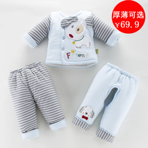 Baby padded cotton suit autumn and winter three-piece cotton newborn baby coat baby clothes 0-3-6 months