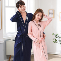 Couples pajamas robe spring and autumn cotton long-sleeved plus long mens bathrobe female bathrobe robe SPA sweat steaming