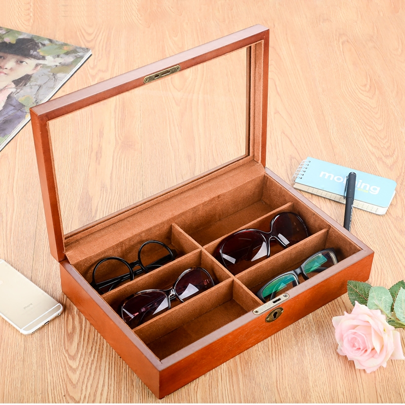 European wooden glasses box sunglasses myopia mirror sunglasses show the collection of collectible box bracelet watch jewelry.
