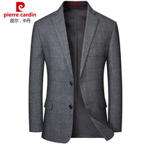 Pierre Cardin mens suit middle-aged wool male business casual casual jacket single piece middle-aged dad hair