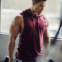 Muscle Fitness Brother Sports marquee male sleeveless hoodie slimming cotton vest pure color hooded shoulder jumper