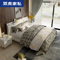 Double Tiger furniture double bed 1 8 meters small apartment master bedroom board bed simple modern high box storage bed 15ZN2
