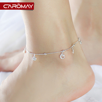 Retro Korean version of the Star moon pendant anklet 925 Silver girls Korea Sen simple foot ring personalized girlfriends foot jewelry