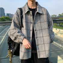Japanese autumn and Winter new wool plaid trench coat Men Korean trend ins coat port wind wild retro coat