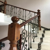 Hangzhou European-style solid wood Villa duplex rotating wrought iron stair railing balcony fence indoor fence corridor railing