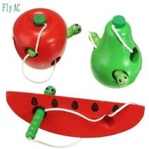 fly ac montessori educational toys fun wooden toy worm eat