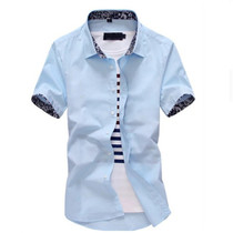 Short-sleeved shirt mens solid color floral Korean casual white trend slim business youth mens shirt Non-Iron