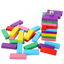 Stacked high pumping building blocks rainbow stacked music digital layers stacked solid wooden puzzle toys desktop parent-child games