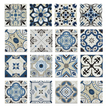 Mediterranean-style blue tile Spanish geometric tile mixed wall tile piece 200x200mm.
