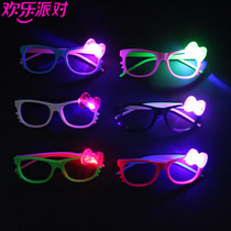 Concert show prop Masquerade Party funny No lens glasses glowing with lamp kt cat funny Glasses