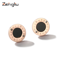 Rose gold plated black earrings female earrings simple cold wind quality South Korea 2019 new tide titanium steel earrings