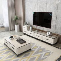 TV Cabinet coffee table combination set Marble small living room Nordic wind modern simple solid wood light luxury bedroom