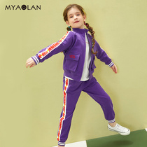 Girls spring and autumn clothes set 2020 new foreign gas network Red Big children's clothing girl sweater children's sports two sets
