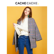 CacheCache woolen coat female long section 2019 early autumn new mesh red winter plaid woolen coat female