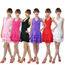 7 color optional practice skirt Latin dance skirt hanging neck backless cake skirt group Latin dance skirt.