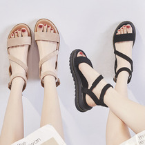 ZHR2019 new summer sandals women slope with thick bottom cross retro Roman shoes students wild shoes ins