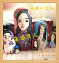 Russian matryoshka egg type 4 layer custom wooden Q version of the cartoon version of the Matryoshka Prince hand-painted gift