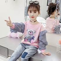 2019 new girls long-sleeved shirt autumn new Korean fashion lace collar cuffs bear girls sweater