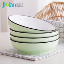 Japanese-style dish ceramic plate plate home simple bone porcelain rice plate can be soup deep plate pure color glaze under the color plate