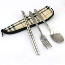 Muxincamp Outdoor Picnic student Commuter tableware set stainless steel chopsticks fork Spoon three set bag