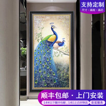 Entrance hallway porch Peacock decorative painting new Chinese pure hand-painted oil painting European and American restaurant Peacock paintings