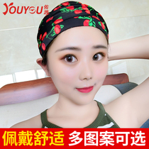 Woo Long hair Professional multi-color pleated swimming cap adult female flower cute not head fashion new hot spring swimming cap