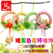 Le Easter decorate decorative wreath rabbit egg decoration door hanging pendant pendant props