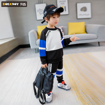 Left West boy sweater autumn suit 2019 New childrens sports two-piece set of large childrens style Korean version of the tide