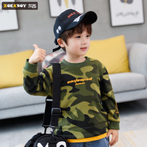 Left West boy sweater autumn 2019 New childrens camouflage long-sleeved t-shirt in the Big childrens spring and autumn Korean version of the tide