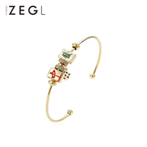 ZENGLIU niche design mahjong bracelet female Korean version simple opening personality hand jewelry Network Red fashion jewelry