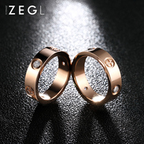 zengliu plated rose gold ring female index finger ring Red couple Japanese-style luxury ring influx of people titanium steel jewelry