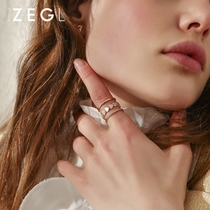 ZENGLIU multi-layer wide-faceted ring female jewelry influx of people index finger opening ring fashion personality exaggerated decorative ring
