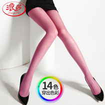 Langsha candy color thin paragraph stockings female fashion color hook wire spring and summer pantyhose sexy sweet stockings