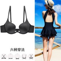 JM gather bra U-shaped halter small chest Invisible No Trace low-cut dress deep V sexy hanging neck back underwear female summer