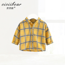 Qi bear Male and female baby dyed plaid long sleeve lapel shirt baby Spring new casual Top Tide
