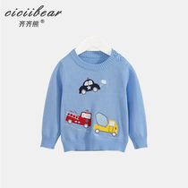 Qi Bear cotton round collar Childrens wear 2019 spring new boys and girls baby sweater Infant Knitwear