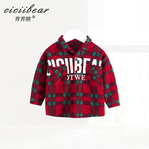 Qi bear Male and female baby spring classic plaid long sleeve shirt baby clothes alphabet print lapel shirt